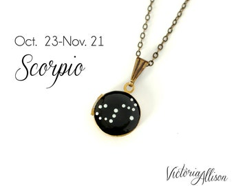 Scorpio Zodiac Constellation Necklace on Vintage Tiny Locket - Hand Painted - Brass Chain, October November Birthday Gift, Scorpion