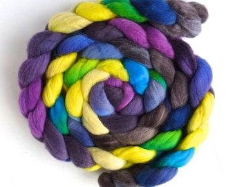 Rambouillet Wool Roving - Hand Painted Spinning or Felting Fiber, Rise and Shine