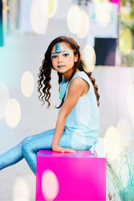 Girls Metallic hologram Mermaid/Unicorn Leggings. Dance and Gymnastics