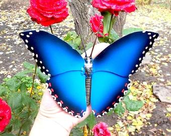 Metal sculpture Blue Morpho Butterfly.  Mechanical butterfly figurine. Welded butterfly. Metal butterfly. Sculpture butterfly. Blue Morpho