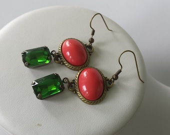 SALE Ready TO SHIP Dark coral and emerald green antique bronze vintage style bridal party earrings