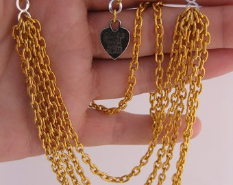 Golden Waterfalls Chain Link Necklace & Earrings (2pc Jewelry Set) - 5 Strand Gold Tone Chain Link Jewelry Set w/Silver Figure Eight Links