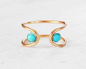Gold Turquoise Orbit Ring, 14k Gold Gemstone Ring, Turquoise Adjustable Open Cuff Ring, Open Stone Ring, Double Stone Ring