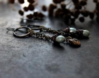 """Rune Gebo earrings, """"Generosity"""" bronze clay earrings, hypoallergenic earrings, light-weight norse earrings, light blue drop earrings"""