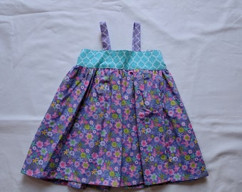 Girl's Spring Sundress - Purple Floral Dress
