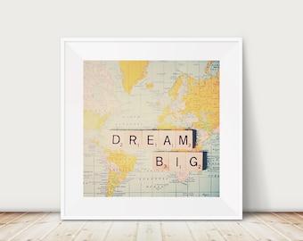 dream big photograph inspirational art map photograph mustard wall art dream big print wanderlust art nursery wall art