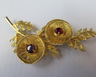 Castlecliff Gold Tone Flower Brooch