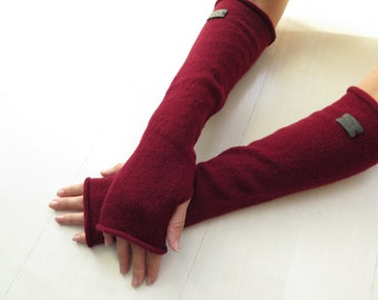 Long Bordeaux Cashmere Wrist Warmers, Cashmere gloves, Cashmere fingerless gloves, Gift for her, Long gloves, Winter accessories, knit