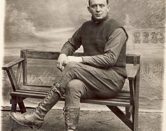 Vintage French Photograph 1919 Handsome Man High Laced leather boots fashionable WWI Era Photo Langres France