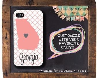 Georgia iPhone Case, Personalized iPhone Case, Geometric iPhone Case, iPhone 4, 4s, iPhone 5, 5s, 5c, iPhone 6, 6s, 6 Plus, SE, iPhone 7