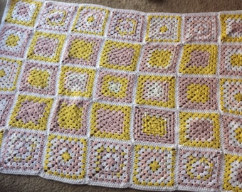 Pink and Gold Granny Square Baby Blanket/Afghan