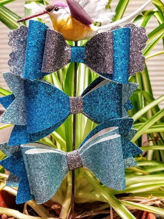 Ocean blue hair bows- 3 bows