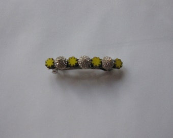 Yellow Flower Gold Metal Crystal Spike French Barrette, for weddings, parties, special occasions