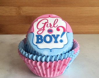 Gender Reveal Cupcake Liners, Standard Sized, Baking Cups (50)