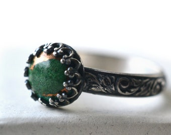 Copper Malachite Ring, Women's Engagement Ring, Oxidized Silver Ring, Unique Gemstone Ring, Customised Jewelry, Personalized Ring
