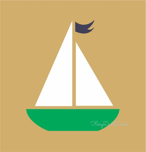 Sailboat wall decal Nautical Boat sticker sailboat nursery