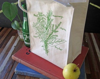 Lunch Bag - Screen Printed Lunch Bag - Reusable Lunch Tote - Recycled Cotton - Eco Friendly Lunch Box - Handmade Canvas Tote Bag - Herbs