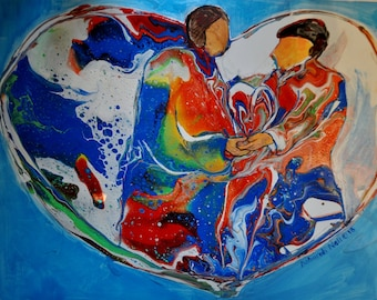 "Colorful Enhanced Acrylic Pour Painting, Faceless Couple, Heart Art, Fluid Art, ""In One Accord"""