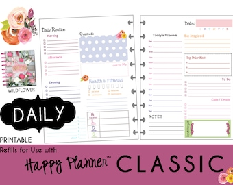 "HAPPY PLANNER Daily Planner Refills Printable - PDF - Classic 7 x 9.25  ""Wildflower"" mambi 