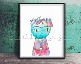 Frida Catlo - Print of Original Watercolor Painting