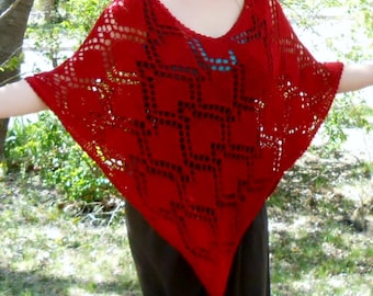 womans knit sweater,merino poncho, lace shawl, womens cape, silk shrug, boho cape, red hearts, gift for her, valentine gift, spring poncho,