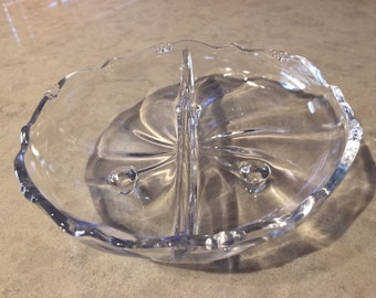 Crystal Condiment Relish Footed Divided Serving Dish Vintage