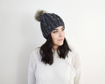 Knit Hat - Chunky Knitted Grey Multi-Color Tuque with Faux Fur Pom - The 'Twisted Cable' Hat - Handmade Slouchy Rib Womans Beanie
