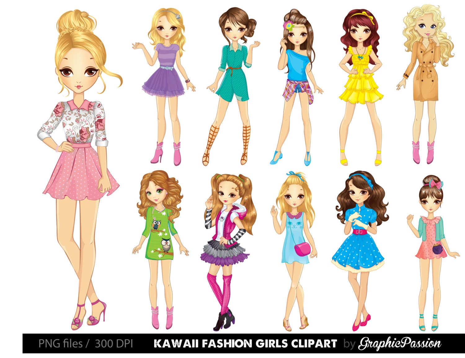 Cartoon girl clipart Kawaii girls clipart Fashion girls clipart ...