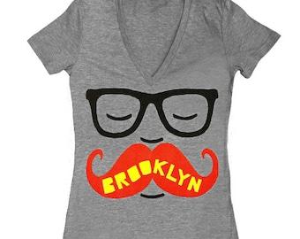 BK Mustache VNeck - Womens Fitted Girls Tshirt Track Tee Shirt Tri Blend Grey Mustache Glasses Brooklyn Hipster Nerd Geek Intellectual