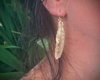 Feather Earrings Gold Feather Earrings Feather Jewelry Brass  Earrings Dangle Earrings Drop Earrings