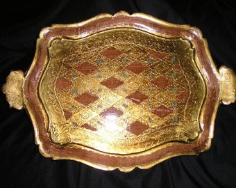 "Vintage 17"" Stunning Italian Ornate Gilt Wood Hand Decorated Florentine Handled Art Tray w/Fleur-the Lys Carvings."