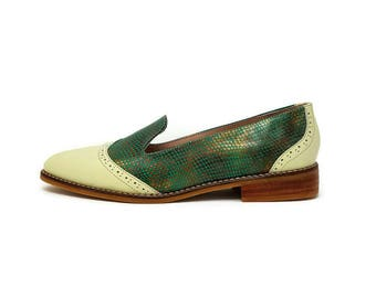 Sofia Aqua Leather Shoes- Loafer shoes -  Women Shoes -Flat Shoes -Women Acqua loafers Shoes -Slip on Shoes- Textured Leather