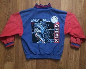 VTG 1980's children's red, white & blue baseball bomber jacket