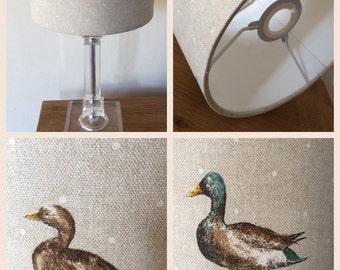 Handmade drum lampshade in mallard (duck) fabric