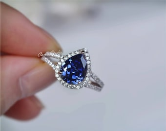 Tanzanite Ring Pear Tanzanite Engagement Ring Wedding Ring Anniversary Ring Promise Ring