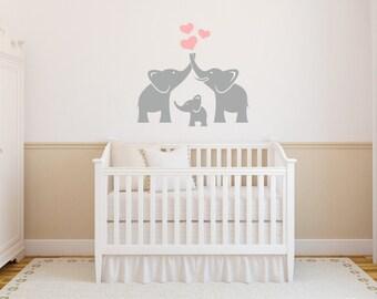 Elephant Family Wall Decal,Nursery Wall Decal, Trunks of Love, Elephants Decal Sticker,SALE