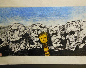 Kokeshi Selfie Tour Mount Rushmore Washington, Jefferson, Lincoln, Roosevelt carved woodblock print Japanese washi paper signed Kevin Clark