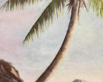 Original landscape painting,  paradise island,  palm tree, wall art, tropical art,
