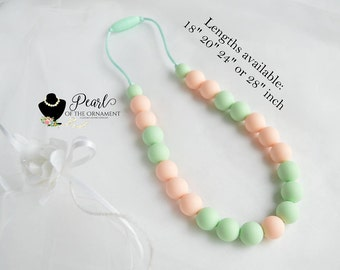 baby peach mint greensilicone teething necklace nursing necklace sensory necklace chew bite necklace chewelry girl mom baby shower autism