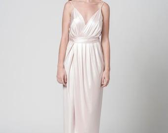 Blush Dress, Silk Dress, Flower Girl Dress, Maxi Long Dress, Long Dress, Bridesmaid Dress, Boho Dress, Boho Wedding Dress, Open Back Dress