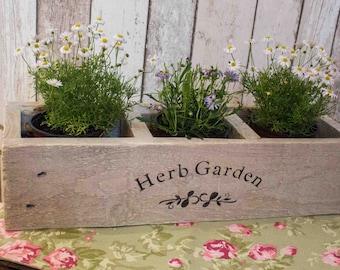 Herb Planter, wooden planter, window box, herb garden, herbs, planter, indoor/outdoor planter.