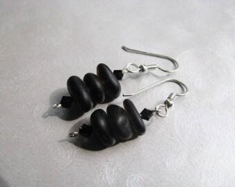 Beach Glass Earrings - Sea Glass Earrings - Black Dangle Stacked Earrings - Prince Edward Island Pure Sea Glass - Ocean Jewelry Gifts