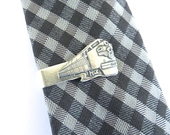 Train Tie Bar, Sterling Silver Ox Finish, Train Tie Clip, Gifts For Men, Gifts For Dad