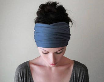 MUTED CORNFLOWER BLUE Head Scarf, Extra Wide Headband, Cornflower Blue Headband, Boho Head Scarf, Blue Turban Headbands or Women Teen Girls