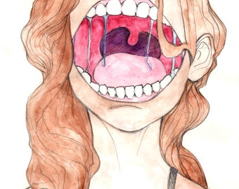 """Yawn Macabre Watercolor Painting 8.5""""x11"""" Glossy Art Print"""