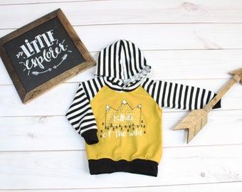 King of the Wild Hoodie, Wild one Hoodie, toddler hoodie, baby hoodie,  Urban Hoodie, Modern Hoodie, Urban Style, mustard hoodie, fall hood