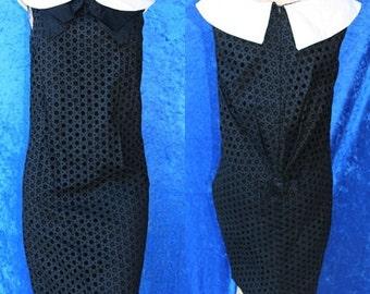 Vintage 60s 1960s Eyelet Wiggle Peter Pan Collar Bow Sheath Mad Men Dress