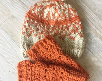 READY TO SHIP // Knit Speckle Beanie with Wrist Warmers