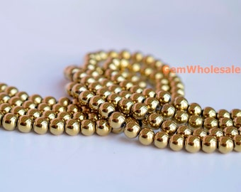 "15.5"" 8mm Golden color Hematite round beads, gold color DIY round beads,golden hematite round beads"