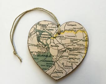 Buffalo Map Heart Ornament- Vintage Style